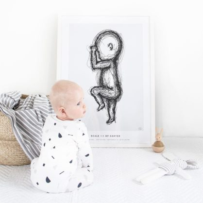 Inspiration - Baby in front of its Birth Poster